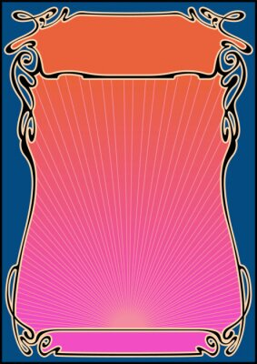 Sticker 1960s Music Posters Stylization, Psychedelic Color Background, Art Nouveau Style Frame