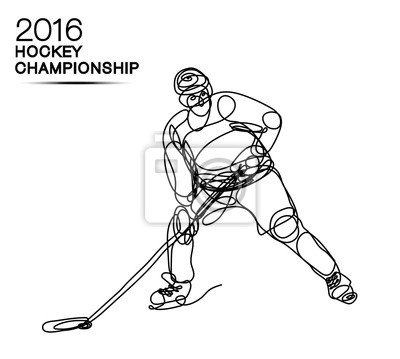 Sticker 2016 hockey, concept, concept, art, fait, une, ligne, concurrence