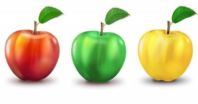 Sticker 3 pommes rouges, vertes, jaunes, en option