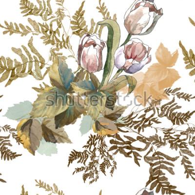 Sticker 3 tulipes blanches et aquarelle d'herbe sur le modèle sans soudure de fond blanc pour tissus, papier