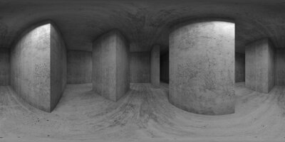 360 panorama, exhibition room with walls and girders, 3d