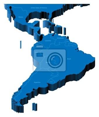 3D carte de l'Amérique latine