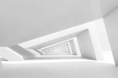3d empty white endless tunnel interior perspective