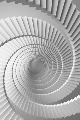 3d illustration de fond avec spirale blanc perspective escaliers