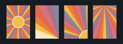 Sticker 60s, 70s, 80s retro banners set. Colorful retrowave striped vintage sun burst