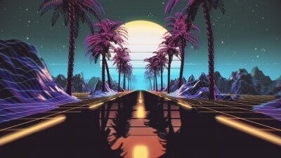 Sticker 80s retro futuristic sci-fi background. Retrowave VJ videogame landscape with neon lights and low poly terrain grid. Stylized vintage cyberpunk vaporwave 3D render with mountains, sun and stars. 4K