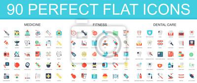 Sticker 90 jeu d'icônes plat moderne de médecine, fitness, icônes de soins dentaires.