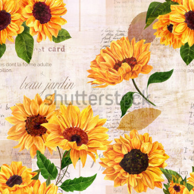 Sticker A seamless pattern with hand drawn vibrant yellow watercolor sunflowers on the background of old letters, postcards, and newspaper scraps mockups, vintage style floral repeat print