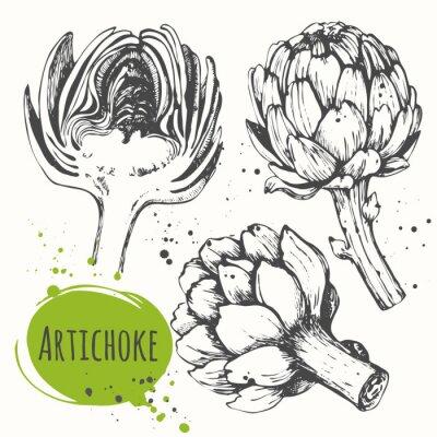Sticker Aartichoke. Ensemble d'artichaut tiré à la main. Aliments biologiques frais.