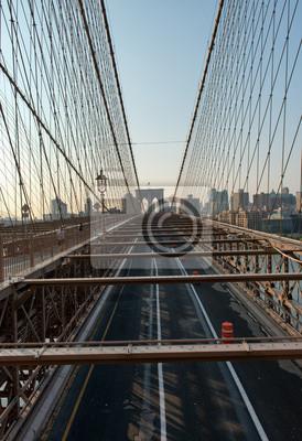Abandonné, brooklyn, pont, lever soleil, nouveau, York, USA