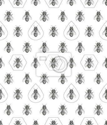 Abeilles texture. Seamless pattern.