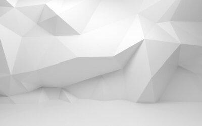 Abstract 3d intérieur blanc avec motif polygonal sur le mur