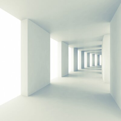 Abstract architecture 3d, couloir blanc vide