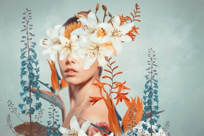 Sticker Abstract art collage of young woman with flowers