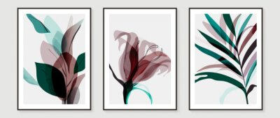 Sticker Abstract art tropical leaves background vector. wall art design with watercolor art texture from floral and palm leaves, Jungle leaves, flower, x-ray botanical leaves design  Vector illustration.