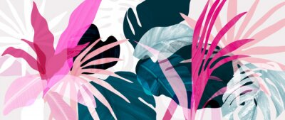 Sticker Abstract art tropical leaves background vector. Wallpaper design with watercolor art texture from palm leaves, Jungle leaves, monstera leaf, exotic botanical floral pattern. Design for banner, cover,