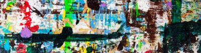 Sticker Abstract art with splashes of multicolor paint; as a fun; creative & inspirational background texture - in long panorama / banner.