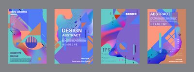 Sticker Abstract background creative cover set. Can be used for Collage page, greeting card, invitation, brochure brush strokes style, banner idea, book cover, booklet print, phone case print, Eps10 vector.