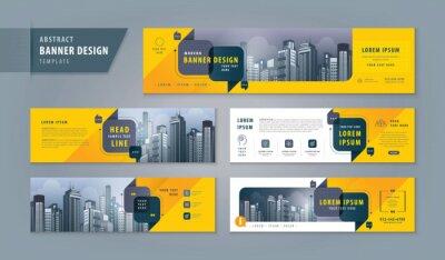 Sticker Abstract banner design web template Set, Horizontal header web banner. Modern cover header