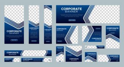 Sticker Abstract banner design web template Set, Horizontal header web banner. Modern Gradient Blue cover header background for website design, Social Media Cover ads banner, flyer, invitation card