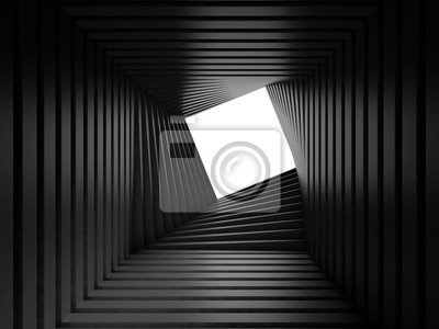 Abstract black twisted tunnel interior 3 d