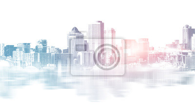 Sticker Abstract city building skyline metropolitan area in contemporary color style and futuristic effects. Real estate and property development. Innovative architecture and engineering concept.