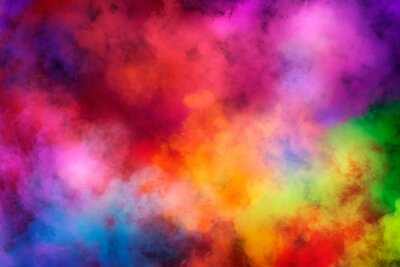 Sticker Abstract clouds of color smoke colorful texture background. Colored fluid powder explosion, dust, vape smoke liquid abstract clouds design for poster, banner, web, landing page, cover. 3D illustration