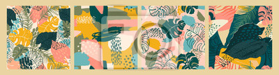 Sticker Abstract creative seamless patterns with tropical plants and artistic background.