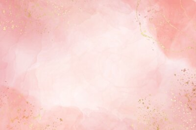 Sticker Abstract dusty blush liquid watercolor background with golden crackers. Pastel pink marble alcohol ink drawing effect. Vector illustration design template for wedding invitation