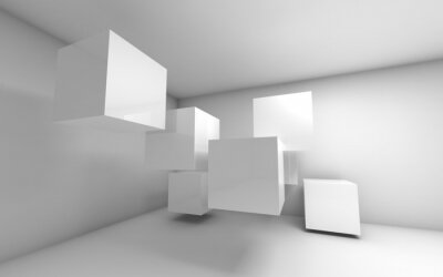 Abstract empty 3d interior with white flying cubes