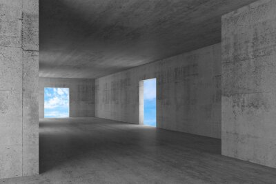 Abstract empty concrete interior with blue sky