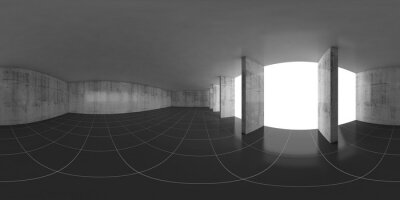 Abstract empty concrete room, 3d panorama