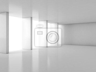 Abstract empty white hall interior with columns near window