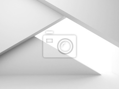 Abstract empty white interior with geometric 3 d installation