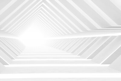 Abstract empty white tunnel perspective, digital graphic
