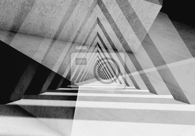 Abstract gray triangular tunnel 3d