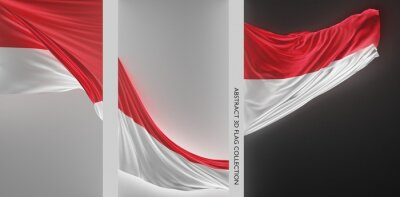 Sticker Abstract Indonesia Flag 3D Render (3D Artwork)