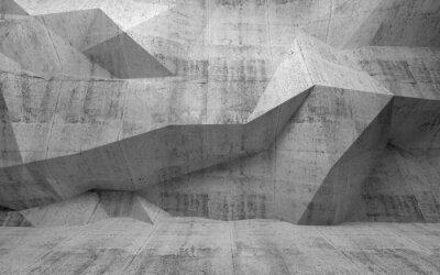 Abstract interior 3d béton noir avec motif polygonal sur la