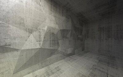 Abstract interior 3d béton noir avec structure polygonale sur t