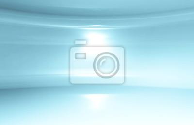 Abstract light blue round 3d interior