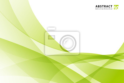 Sticker Abstract modern light green wave element on white background with copy space.