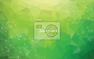 Sticker Abstract Multi green Polygonal Space Background with Connecting Dots and Lines. Geometric Polygonal background molecule and communication. Concept of science, chemistry, biology, medicine, technology.