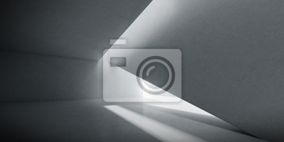 Sticker Abstract of concrete interior space with sun light cast the shadow on the wall and floor,Geometric design,Perspective of brutalism  architecture,3d rendering
