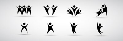 Sticker Abstract People Logo Set. Human Figure Isolated On White Background. Icons Collection For Human Success, Celebration Logo, Achievement Symbol And Activity. Different Happy People. Figure Logo, Vector