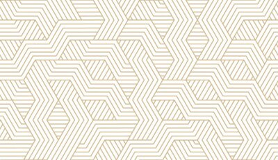 Sticker Abstract simple geometric vector seamless pattern with gold line texture on white background. Light modern simple wallpaper, bright tile backdrop, monochrome graphic element