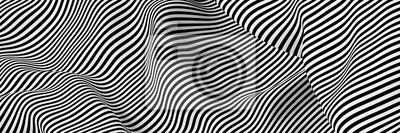 Sticker Abstract striped surface, black and white original 3d rendering