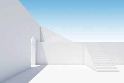 Abstract white interior with stairs and arch, 3d