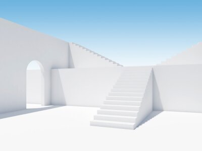 Abstract white interior with stairs and empty arch
