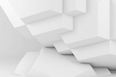 Abstract white parametric geometric 3d installation