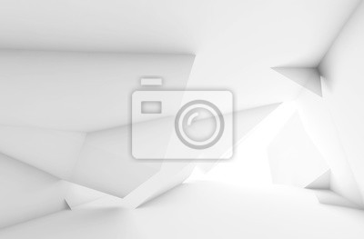 Abstract white room interior 3d
